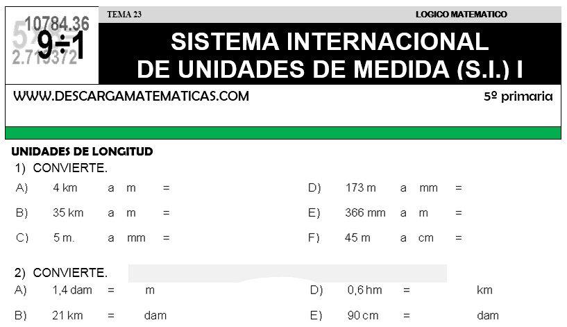 23 Sistema Internacional De Unidades De Medida Quinto De Primaria Unidades De Medida Sistema Internacional Matematicas