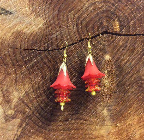 Handcrafted Red and Yellow Flower Earrings