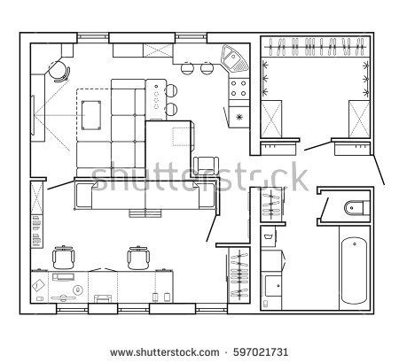 Architectural Plan Of A House Layout Plan Of The Apartment With