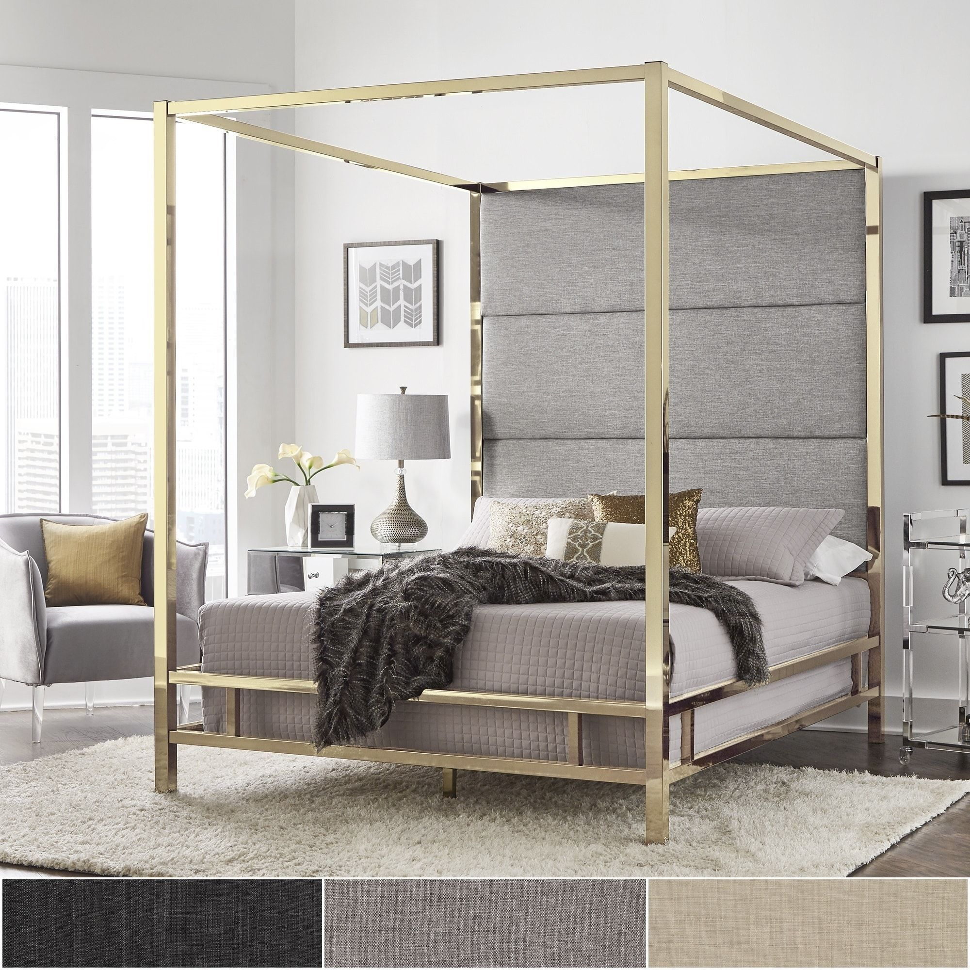 Evie Gold Metal Canopy Bed with Linen Panel Headboard by iNSPIRE Q Bold  (Full Size - Dark Grey Linen), Black