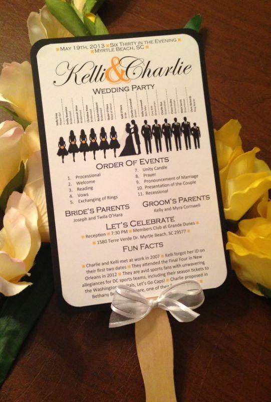 Silhouette Wedding Progam Paddle Fan Black Blue Ceremony Diy Elegant Fun Gold Green Navy Orange Outdoor Pink Printable Program Purple
