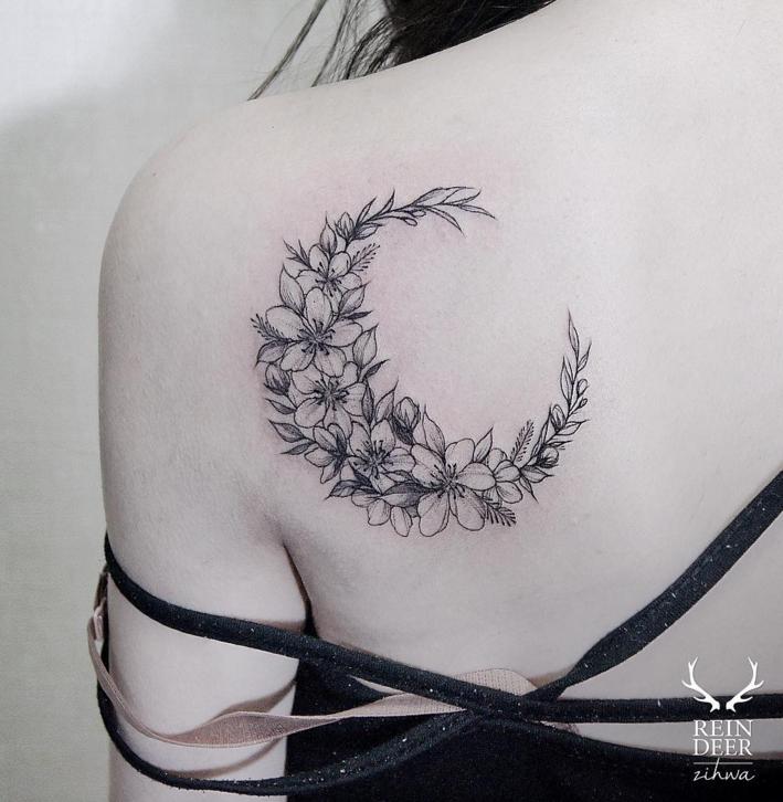 Floral Moon Tattoos Cute Shoulder Tattoos Back Tattoo
