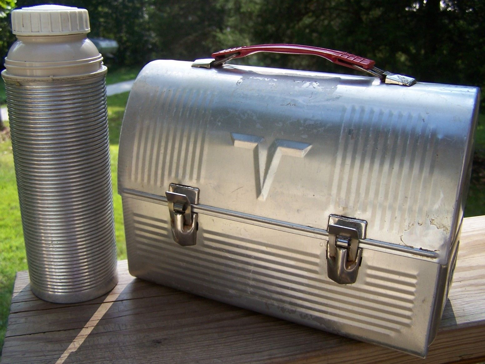 Exceptional Metal Lunch Tin Part - 10: SALE - Vintage Metal Lunch Box And Thermos Set. $22.00, Via Etsy.