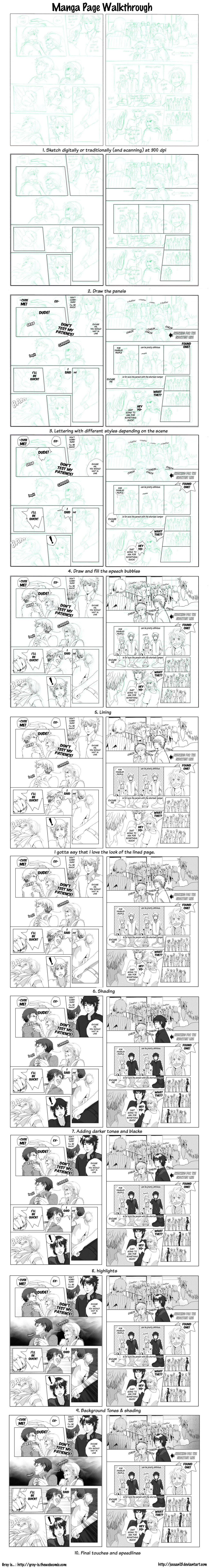 Manga Page Process By Deejuusan On Deviantart Comic Tutorial Manga Drawing Tutorials Comic Book Layout