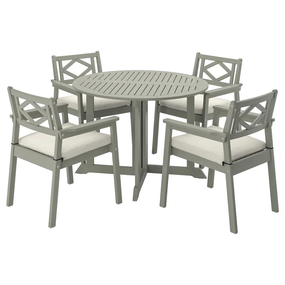 Le sedie e le poltrone sono impilabili e facili da riordinare. Bondholmen Tisch 4 Armlehnstuhle Aussen Grau Las Froson Duvholmen Beige Ikea Deutschland Idee Ikea Macchia Grigia Cuscini Per Sedia