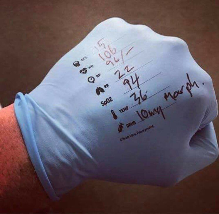 I Used To Write The Vitals On My Glove When I Was An Emt So