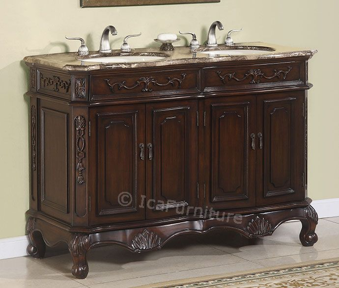 50 inch double bathroom vanity cabinet w marble top no - 50 inch double sink bathroom vanity ...