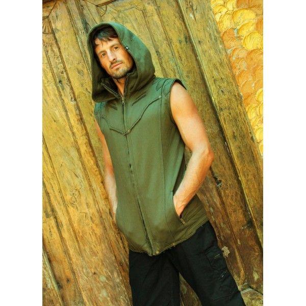 Nighthawk Hoody Vest Army I Tribal Streetwear I Goa Clothing I Yoga Fashion - Fraggletribe.com