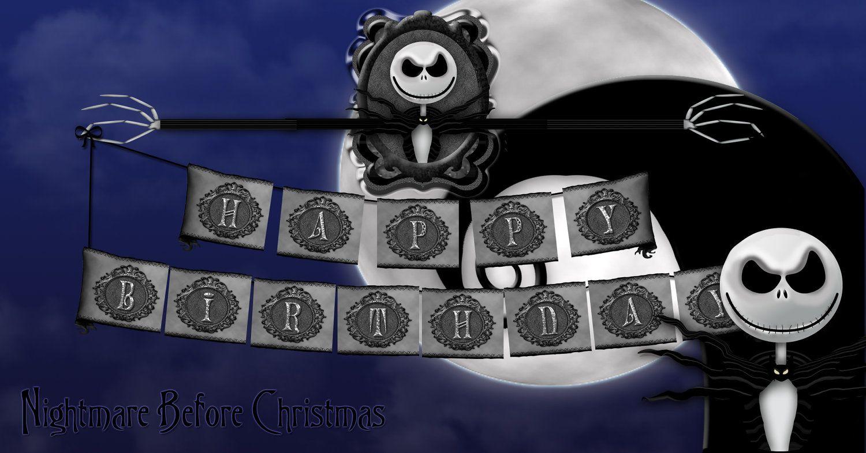 Printable Nightmare Before Christmas Birthday Banner 11 95 Via