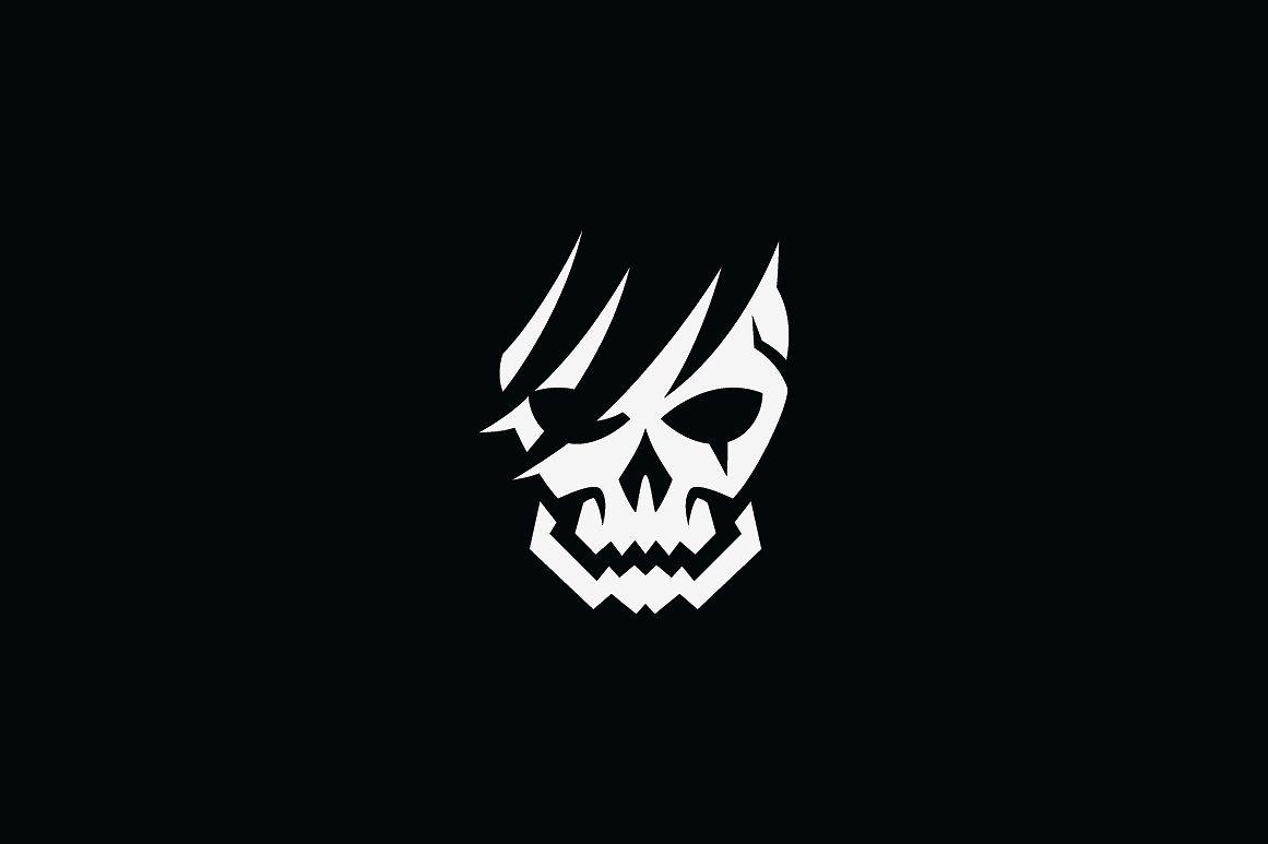 Broken Skull Logo Template Skull Logo Skull Art Drawing Skull Art