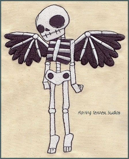 Skeleton Angel embroidered feeding bib by MorningTempest.