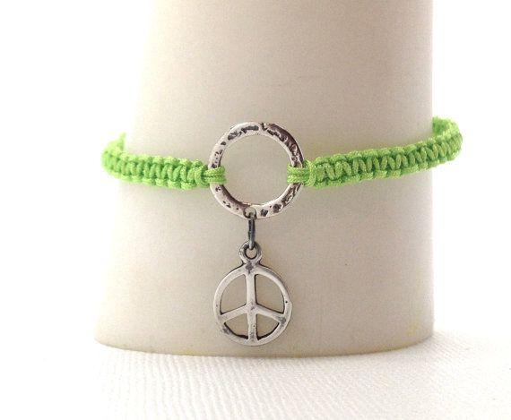 Peace Bracelet Lime Green Macrame Friendship By Girlburkestudios 15 00 Lime Green Bracelet Peace Bracelet Peace Sign Charm