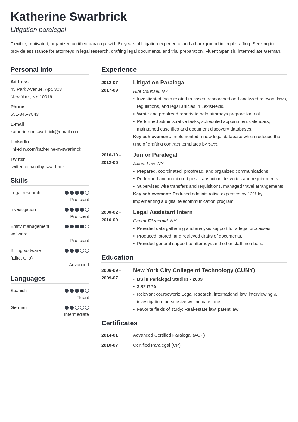 paralegal resume example template simple in 2020 Resume