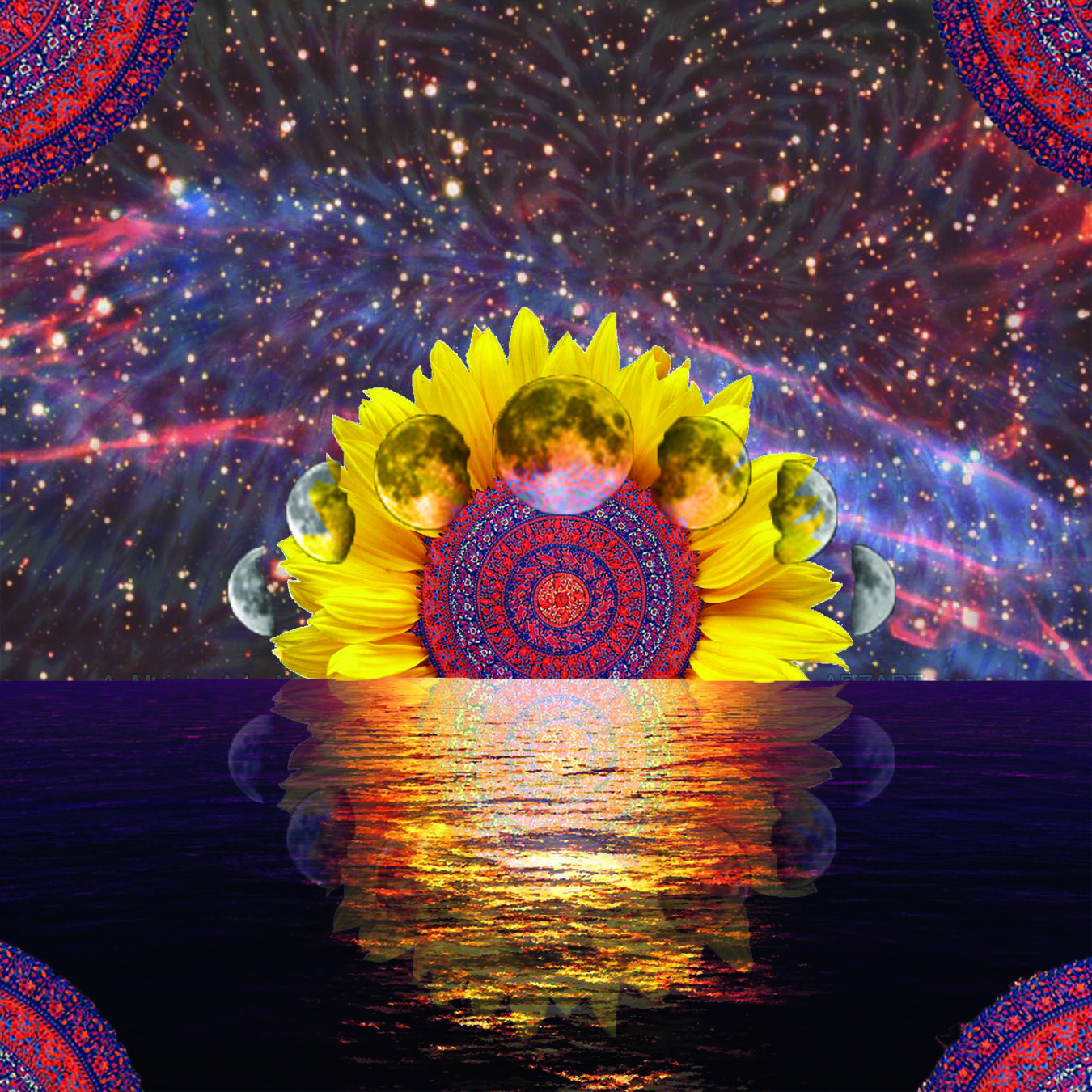 trippy space sunflower sunset made by me :) | 4rth Board ...