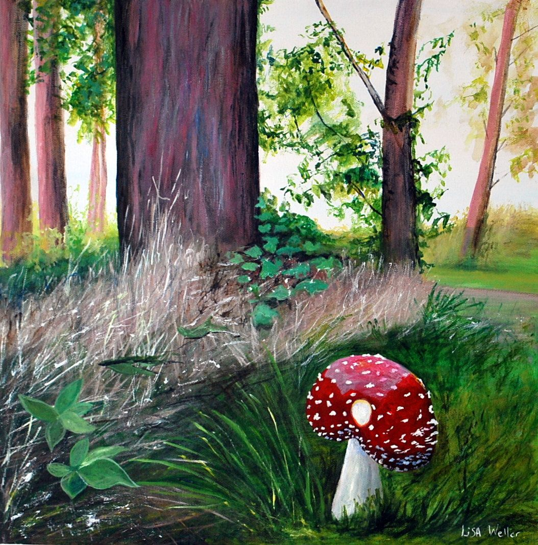 Toadstool painting fairytale art original painting of a for Painting a forest in acrylics