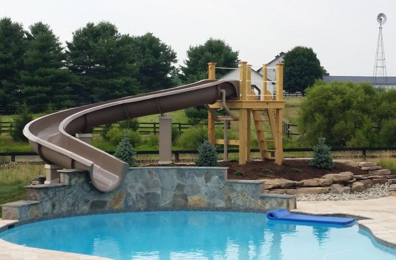 We design & sell Custom Residential Water Slides for your in ground  swimming pool using commercial grade fiberglass. - Pin By Chris Smith On Backyard Landscaping Backyard, Swimming