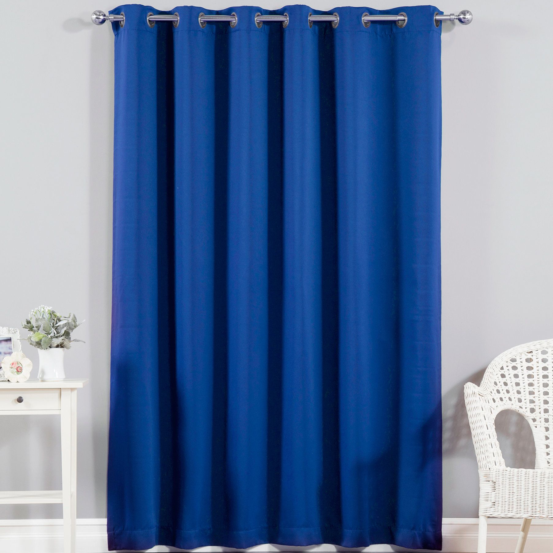 Solid Blackout Thermal Grommet Single Curtain Panel | Pillows