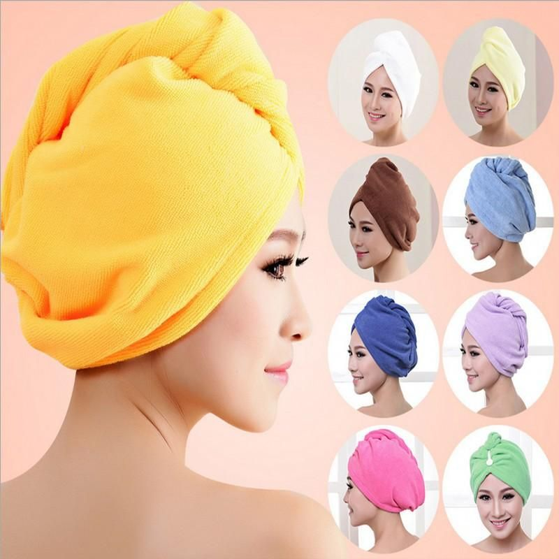 Women Hair Wrap Head Towel Quick Dry Bath Turban Twist Drying Cap Button Hat TEC