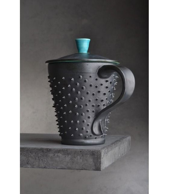 Copious: Black and Blue Lidded Dangerously Spiky Mug by Symmetrical Pottery MTO