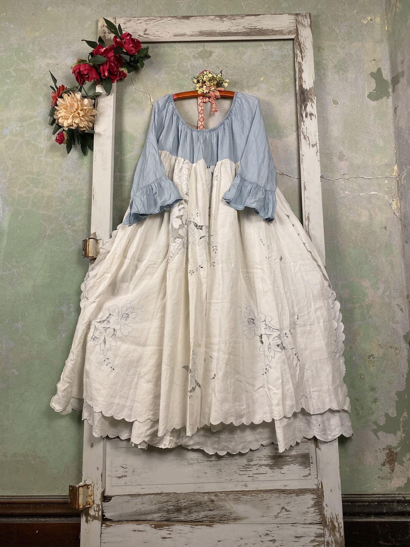 Xl 3x White Chambray Lacy Petticoat Dress Shabby Chic Layering Dress Cottage Chic Chemise Up Cycled Raggandbone Sho Shabby Chic Clothes Dresses Petticoat Dress [ 3000 x 2250 Pixel ]