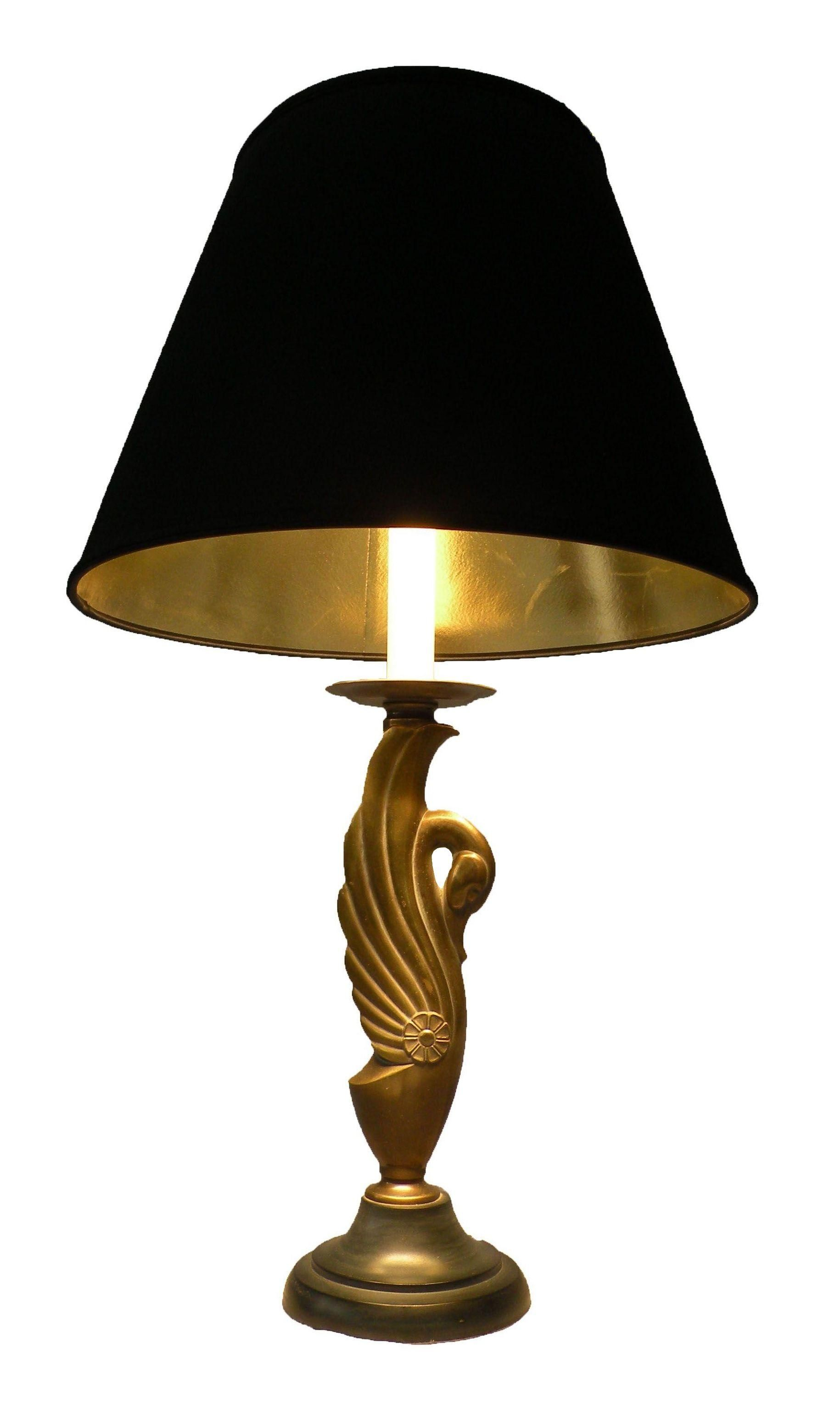 Elegant Br Swan Lamp With Black Gold Lined Shade Good Vintage Condition Works Great Some Mild Tarnishing Near The Top And Light Wear To