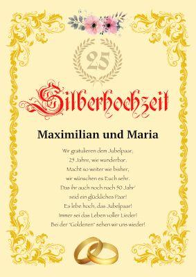 Urkunde Hochzeitsjubilaum 25 Jahre Silberhochzeit Als Pdf Vorlage Diamantene Hochzeit Porzellanhochzeit Spruche Diamantene Hochzeit