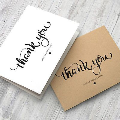 10 X Personalised Wedding Thank You Cards Folded Format