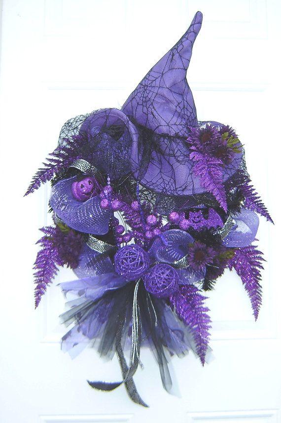 Purple/Black Halloween Witches Hat Wreath by HungUpOnWreaths, $59.00