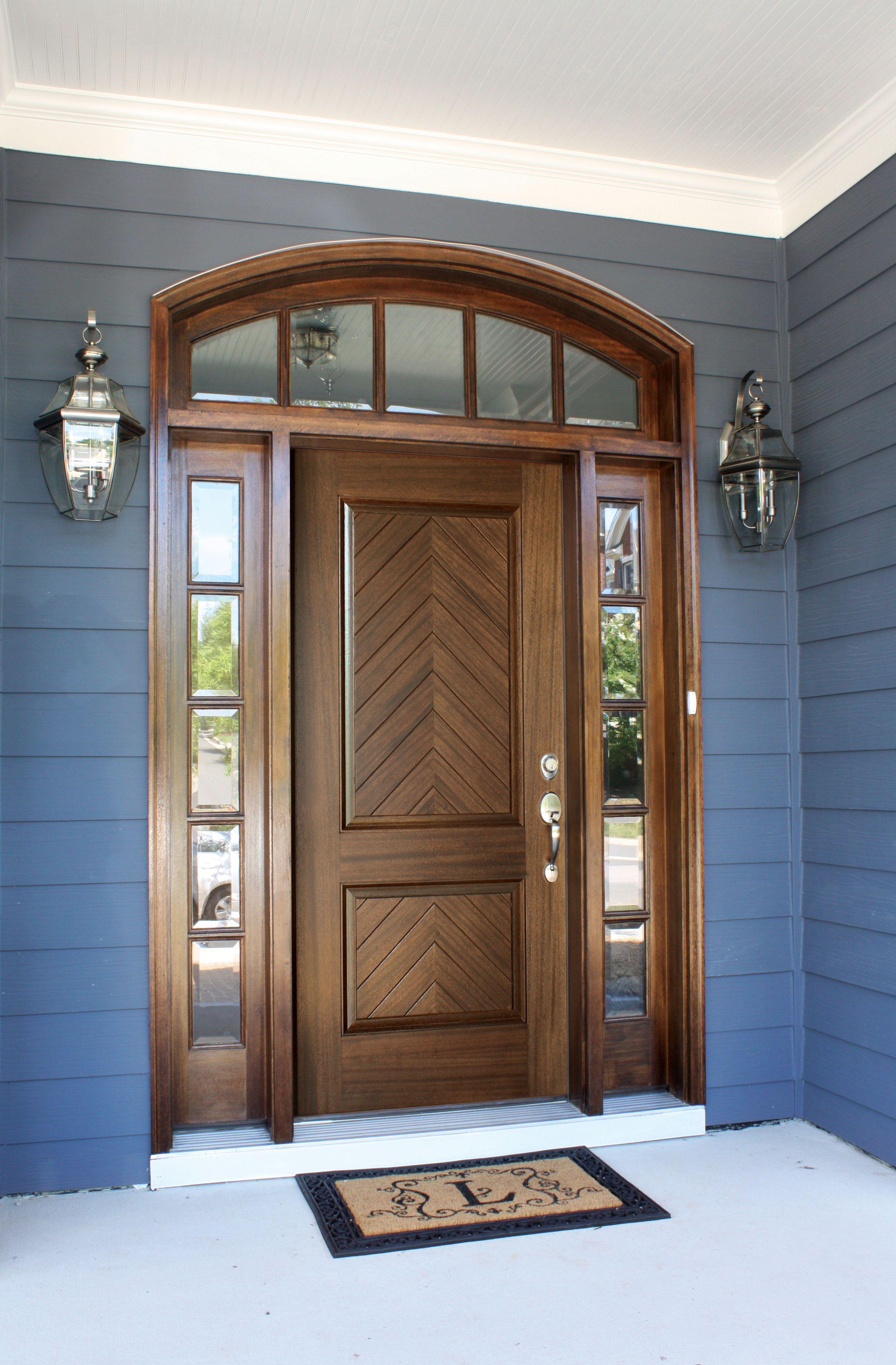 Manchester Solid Panel Square Clear Beveled Glass Door Design Modern Front Door Design Wood Wooden Front Door Design