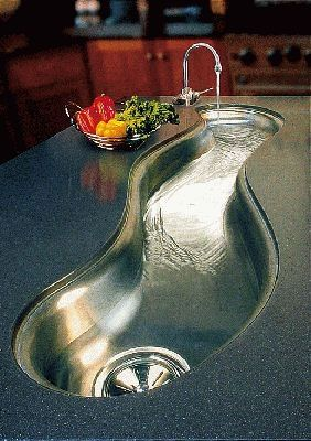 Creative Curved River Sinks Flow Through Countertops