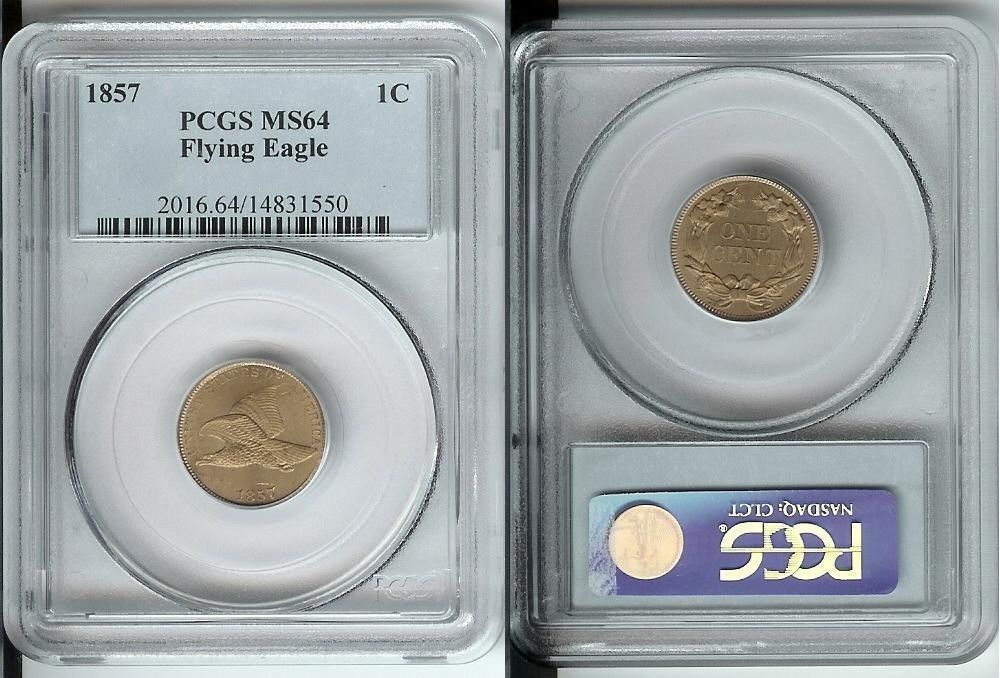 1857 One Cent Flying Eagle Coin PCGS MS64 Uncirculated - Certified - NICE!