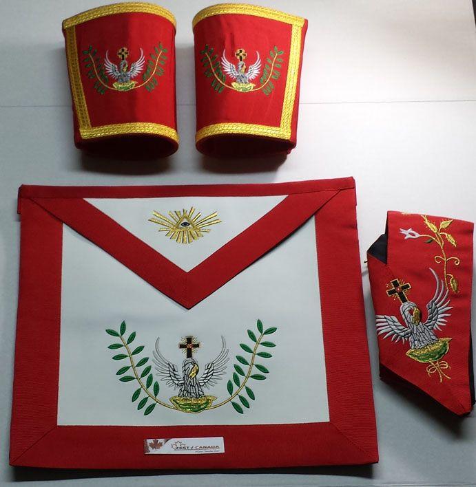 Masonic Rose Croix 18th Degree Apron, Gauntlets and Collar Set