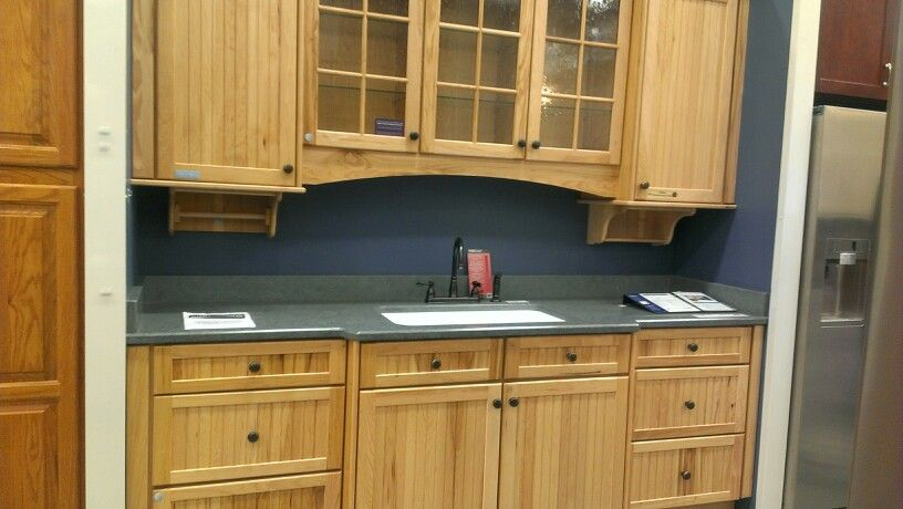 natural kraftmaid briarwood hickory beaded cabinets love them rh pinterest com