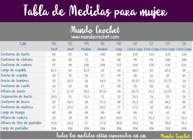 Tabla de medidas para mujer tejidos crochet ganchillo | Tabla ...