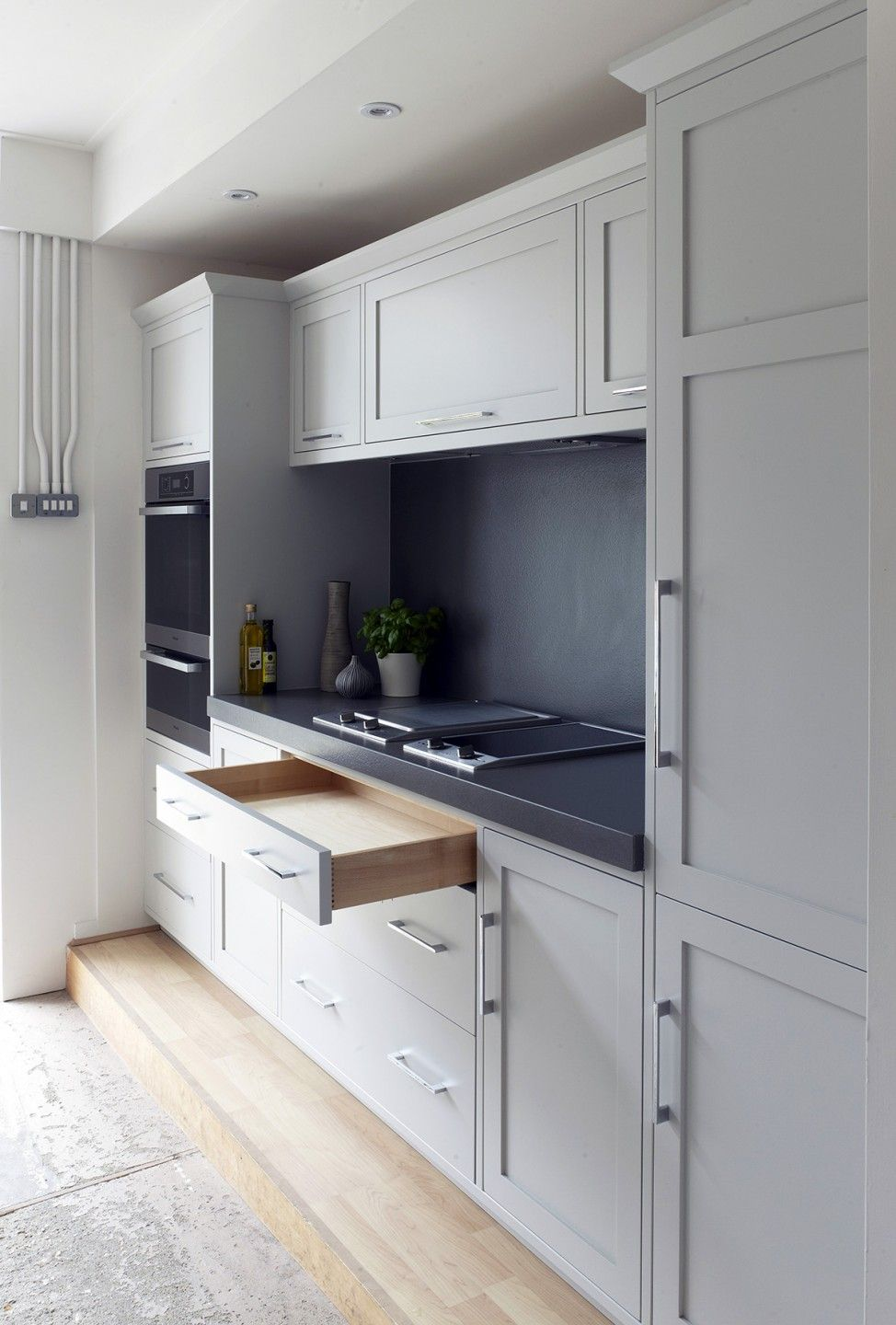 Interior design for a small kitchen and white drawer cabinet