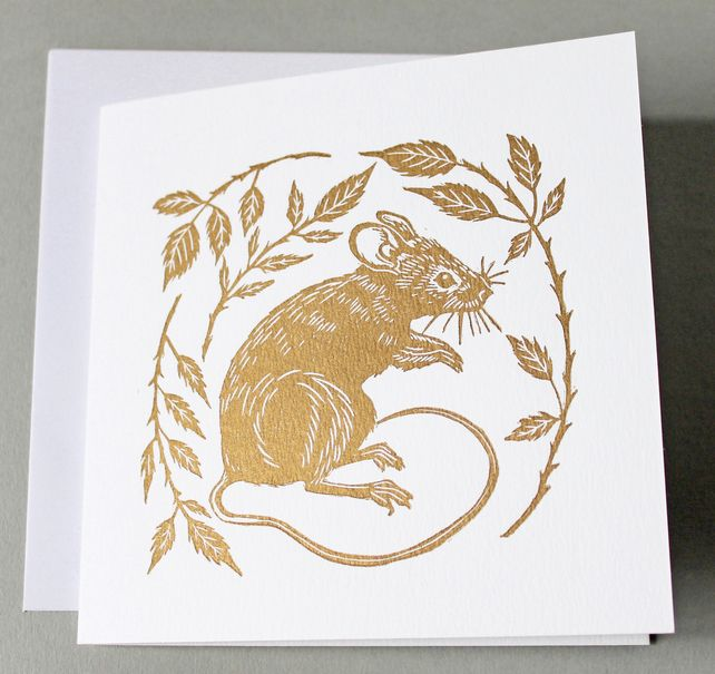 Pack of two gold mouse linoprint cards