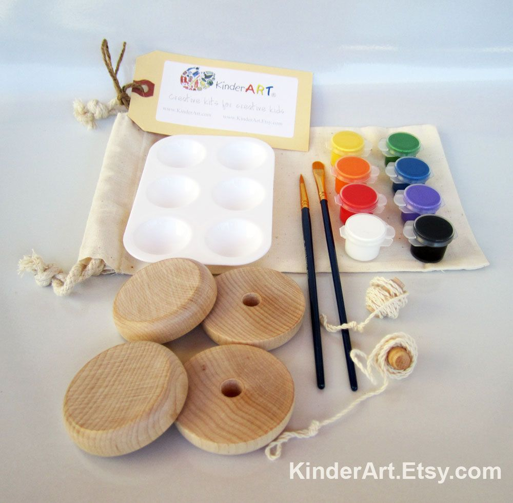 DIY Wooden Yo-Yos and Paint Kit in a Bag Arts and Crafts for Kids. $16.00, via Etsy.