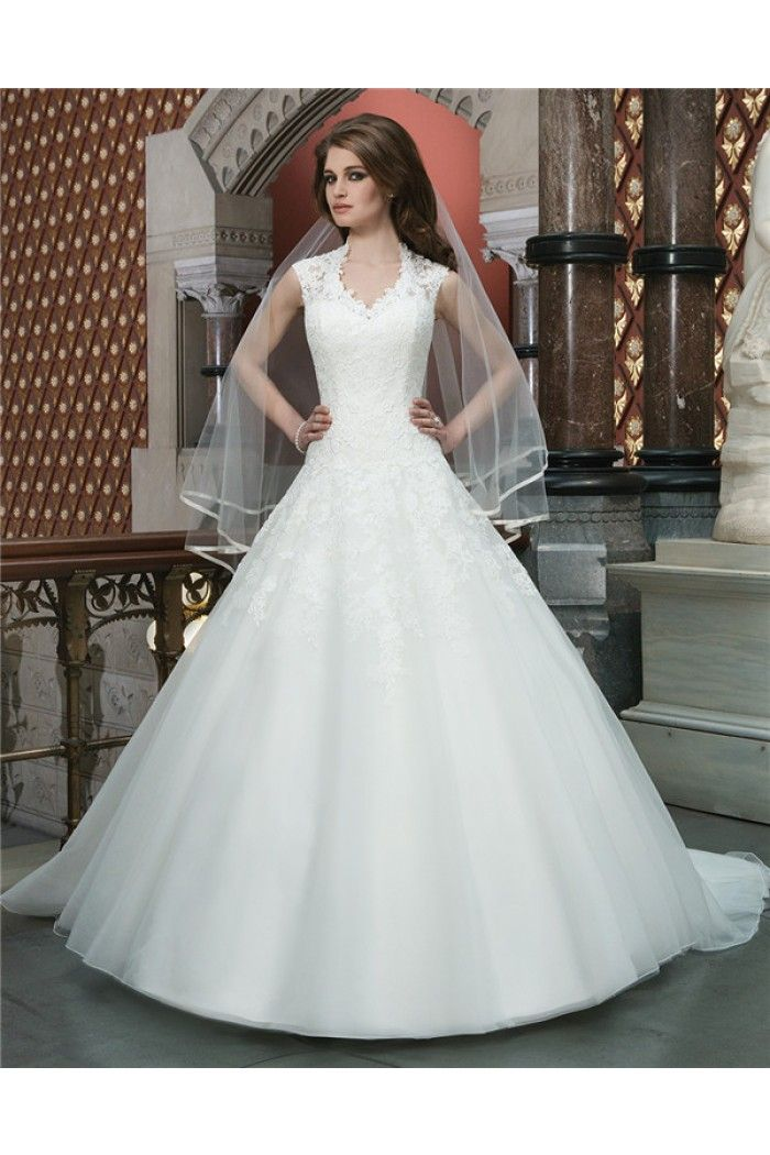 Modest Ball Gown Queen Anne Neckline Illusion Back Tulle Lace ...