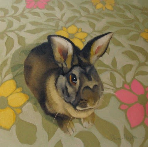 """Reluctant Oil on wood 8"""" x 8""""  SOLD   Easy on the eyes, cute as a button--they are. But maybe not the most exciting pets? Rabbits hav..."""