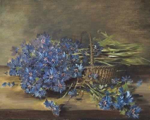 """pintoras: """" Pauline Jamar (Belgian, 1850 - 1911): Cornflowers in a basket (via…"""