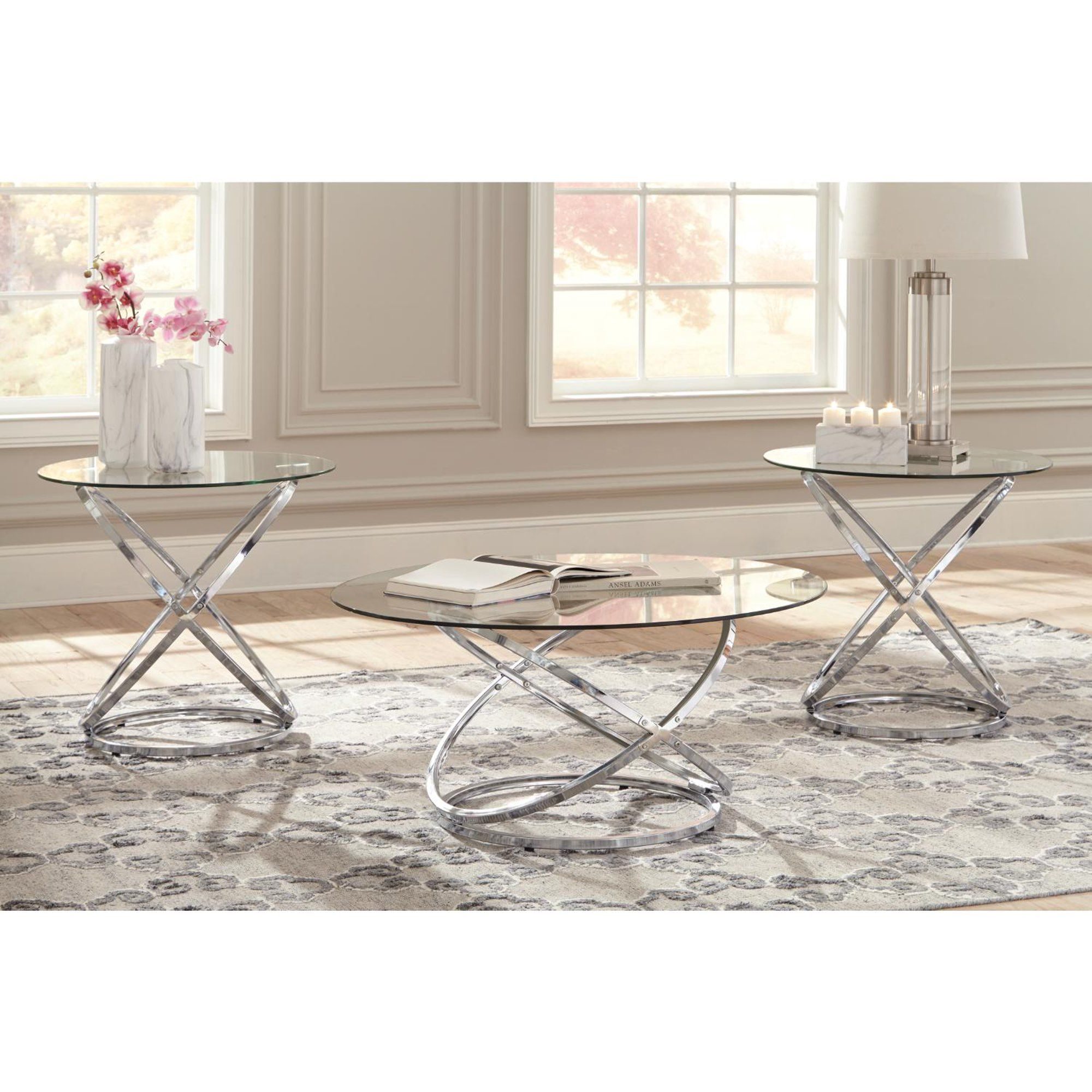 Signature Design By Ashley Hollynyx Living Room Table Set Walmart Com Living Room Table Sets Tempered Glass Table Top 3 Piece Coffee Table Set [ 2000 x 2000 Pixel ]