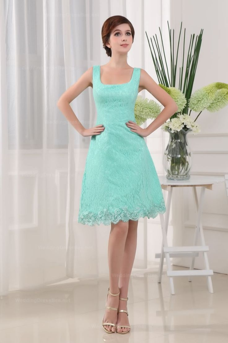Lovely U Neck Slim A-Line Lace Knee-Length Women Dress With Zipper ...