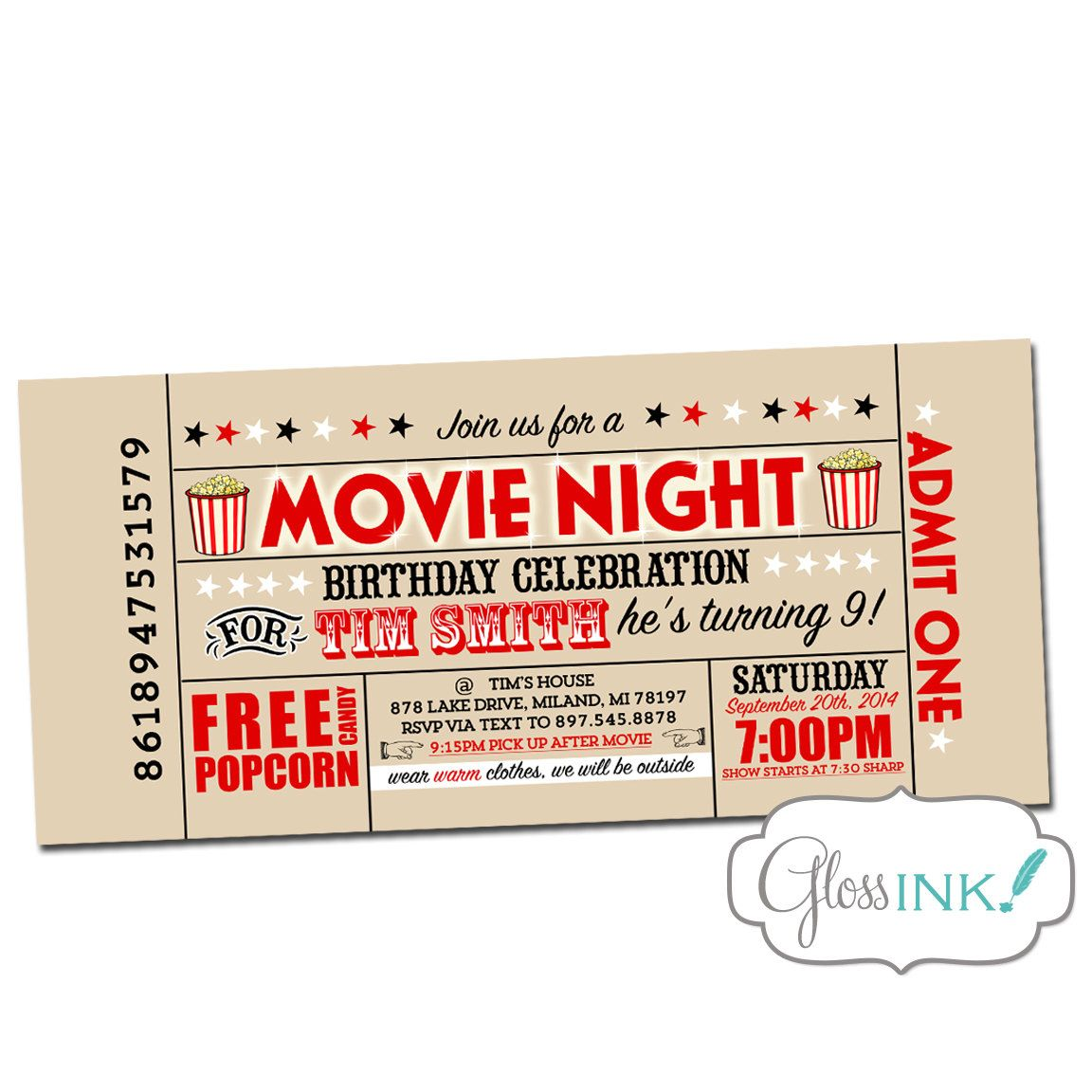 Movie Birthday Party Invitation - Outdoor movie screen vintage ...