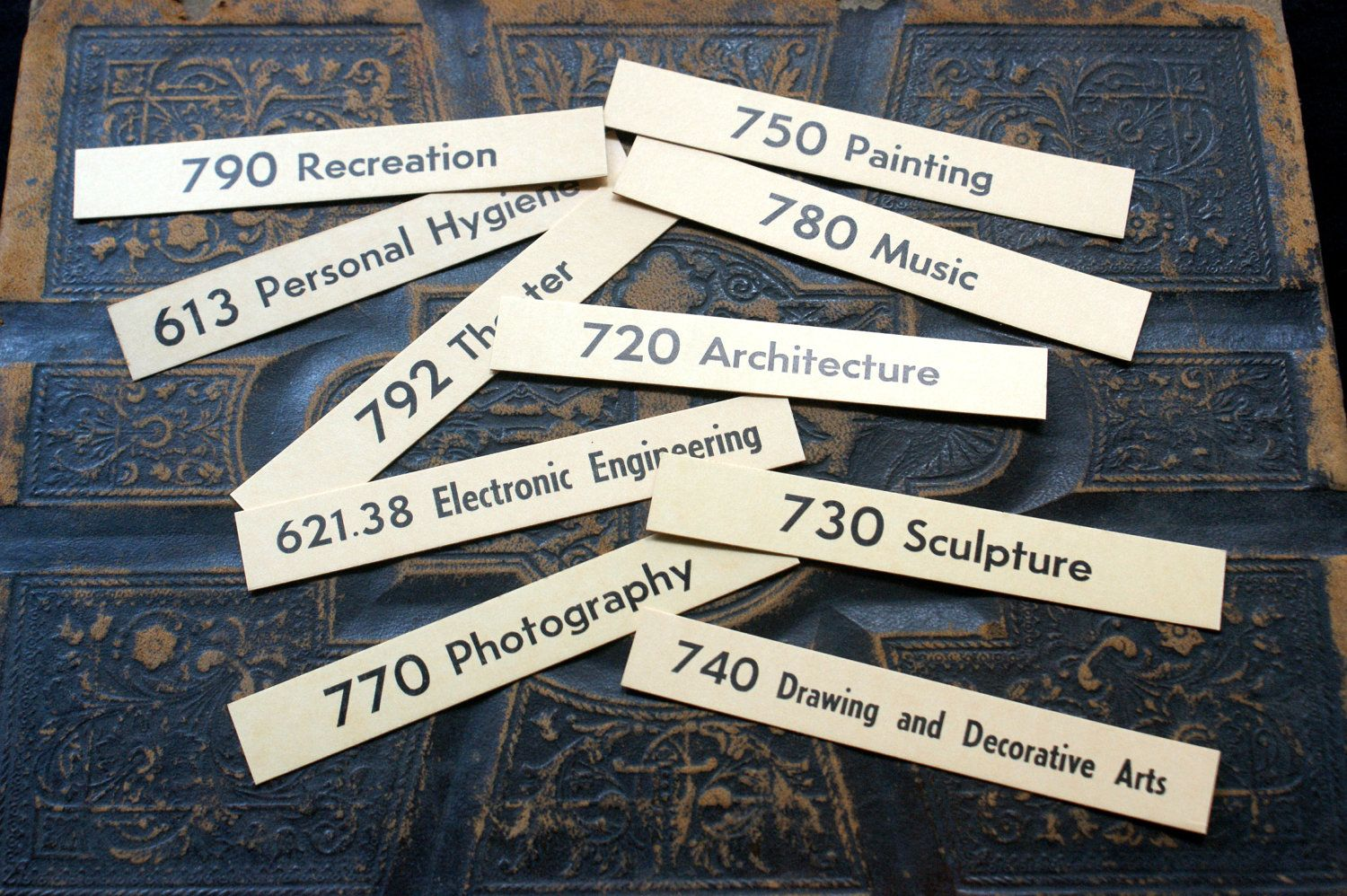 10 Vintage Library Shelf Cards for Scrapbooking, Altered Art, Journal Projects, Steampunk, and Mixed Media. $1.99, via Etsy.