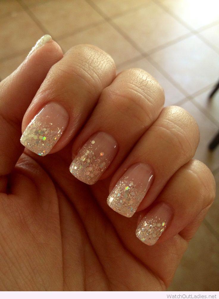 Glitter french manicure for Christmas | Nails | Pinterest | Glitter ...