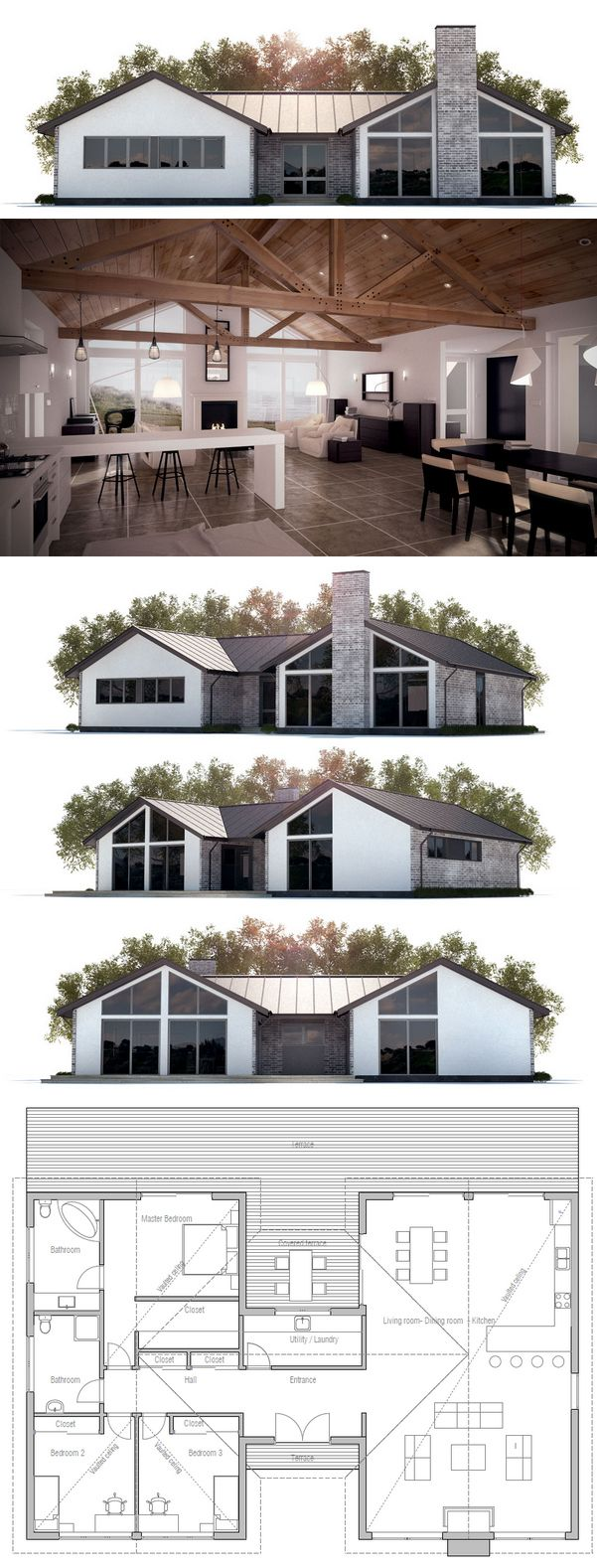 House Plan With Three Bedrooms Open Planning Vaulted Ceiling