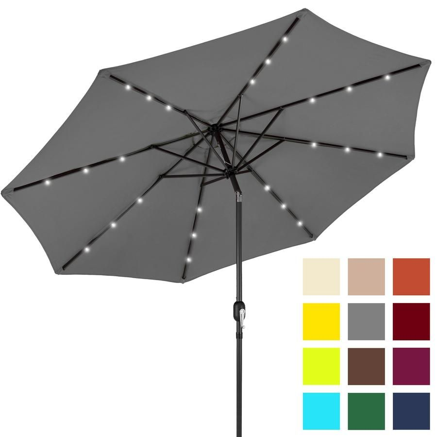 10ft Solar Led Lighted Patio Umbrella W Tilt Adjustment Fade Resistance Solar Led Best Patio Umbrella Solar Powered Led Lights