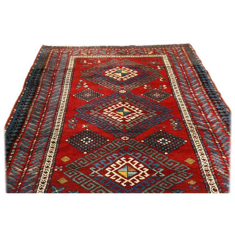 Antique Kazak Transitional Geometric Red And Blue Wool Rug With Dyrnak Guls Blue Wool Rugs Scandinavian Rug Rugs