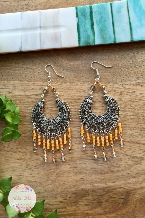 Orange Boho Chandelier Earrings Statement Ethnic Earrings Gypsy Earrings Beaded Earrings Bohemian Earrings Boho Chic Earrings Gift for women
