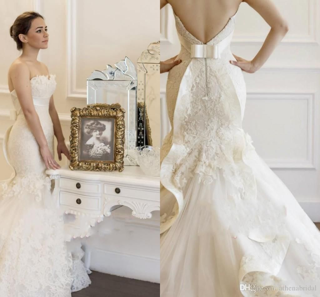 Strapless and backless wedding dress  Vintage Mermaid Lace Wedding Dresses  Strapless Backless Chapel